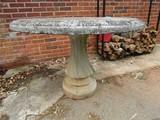 Stone Garden Table Round Top Scallop Pedestal, Bead Trim w/ Umbrella Stand Center