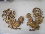 Pair - Brass/Metal Wall Mounted Rooster by Vermay