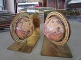 Pair - Globe Design Brass Book Ends