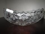 Etched Leaf/Floral Design Centerpiece Bowl Glass 10 1/2 End-End