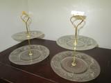 Pair - Pressed/Prescut Glass 2-Tier Cake Holders/Servers w/ Brass Handles