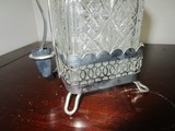Prescut Glass Diamond Cut Jar w/ Silverplate Stand/Holder w/ Silverplate