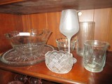 Glass Lot - Scalloped Bowl, Crimped Rim Front Bowl, 2 Glass Serving Platters