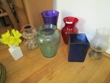Glass Lot - Ruby Glass Vase, Purple Glass Vase, Blue Glass, Various Sizes, Etc.