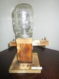 Hand Made Wooden Coin Dispenser/Bank Ball Mason Jar Top