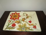 Pier 1 Imports Ceramic Tray Red/Yellow Floral Motif