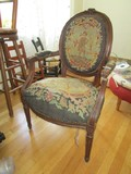 Antique Wooden Parlor Chair, Oval Back w/ Stitched Farm/Bird Back/Seat, Acorn Top