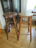 2 Wooden Stools, 1 w/ Fabric Top