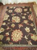 Dark Blue Floral Floor Rug
