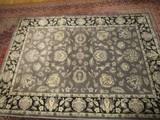 Blue/Grey Floral Motif Floor Rug Ornate Motif