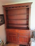 Broyhill Wooden China Cabinet Open Front 3-Tier Shelving, 2 Drawers w/ 2 Hutch Doors