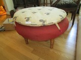 Wooden Legs Red Fabric/Rooster Fabric Upholstered Foot Rest, Spindle Legs