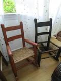 2 Wooden Child's Chair, 1 Brown Wicker Seat, Ladder Back, 1 Dark Stained