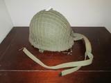 Vintage WWII Helmet w/ Net, Chin Strap, Etc.