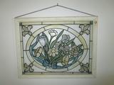 Slag Glass Floral Design Wall Hanging Décor in Wood Frame