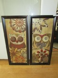 Pair - Owl Print/Sequin Art in Wood Frames/Matt Artist Signed Trina