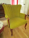 Vintage Green Upholstered Scalloped Back Arm Chair Grooved Arms