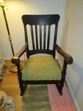 Vintage Wooden Rocker, Curled Arms, Slat Back, Spindle Sides, Green Upholstered Seat