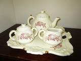 White Ceramic Teapot, Creamer, Sugar, Tray w/ Pink Rose Motif Gilted, Ornate Design Tray