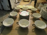 Pink Floral Pattern Ceramic 8 Cups/8 Saucers