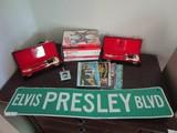 Lot - Elvis Presley Blvd Sign, 2 White Mini Guitars in Cases, Elvis DVD's, Small Bags, Etc.