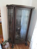 Vintage Wooden 5-Tier Display Cabinet Curved Front Design, Window Panels