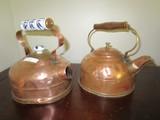 Pair - Copper Hand-Wrought Tea Kettles, 1 w/ Wood Handle, 1 w/ Porcelain