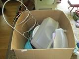 Lot - Kitchenware/Plate Holders, Tupperware Boxes, Children Plates/Dinnerware, Etc.
