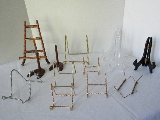 Lot - Misc. Display/Plate Stands, Bamboo Easel, Plastic, Lacquer & Metal