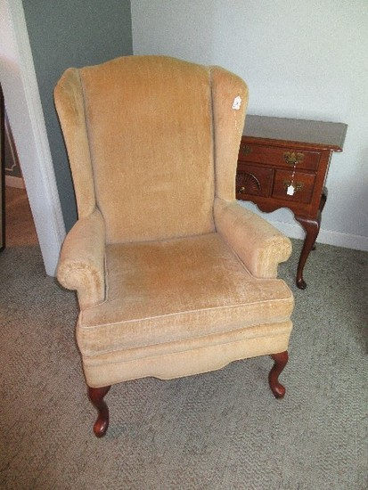 Queen Anne Style Wing Back Chair Mahogany Trim