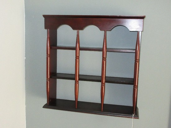 Wooden Wall Curio Display Shelf w/ Ring Turned Spindles & Arched Crown Dark Stain Finish