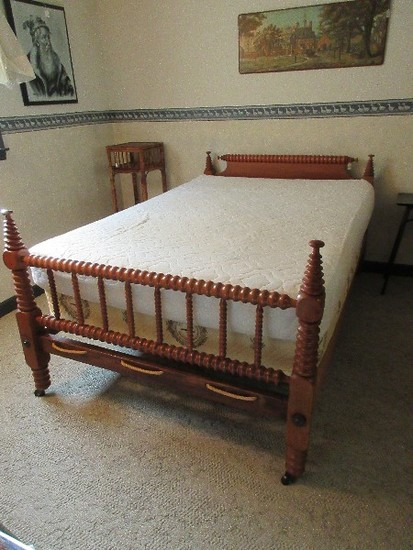 Antique Spool Low Post Four Poster Rope Bed Converted Three Quarter to Full