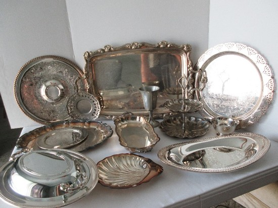Lot - Silverplate Serving Pieces, Chalice, Chip & Dip, Engraved Tray, Handled Tray