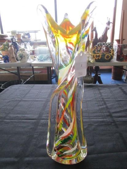 Murano Art Glass Twisted Multi-Colored Vase w/ Polished Base