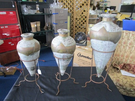 3 Matching Pottery/Brass Plate Vases on Metal Stands Wide Body Narrow Neck/Base