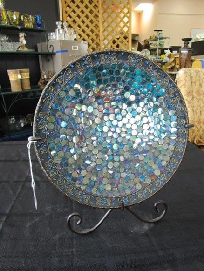 Ornate Blue Glass/Bead Display Plate w/ Stand