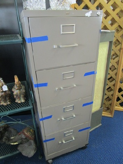 4 Drawer Metal Filing Cabinet by Hon on Casters