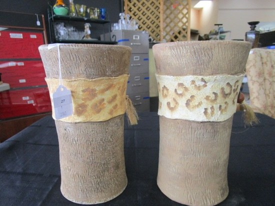 Pair - Ceramic Vase Pots w/ Leopard Spot Pattern