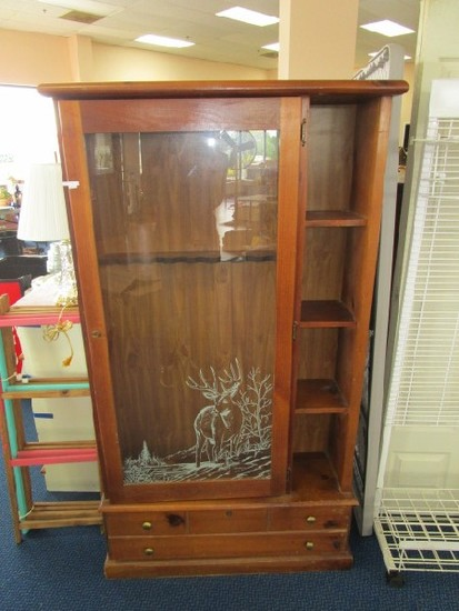 Wooden Gun Cabinet Glass Front w/ Stag Transfer, 4 Wooden Side Storage Shelves