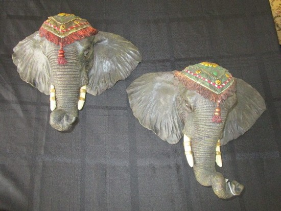 Pair - Indian-Style Elephant Head Décor Wall Mounted
