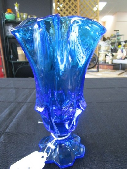 Blue Art Glass Vase Crimped Rim