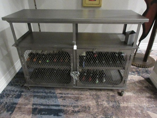 World Market Bexley Collection Industrial Design Metal Libation Bar Cart