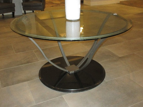 Transitional Modern Black Granite Base Gray Metal Pedestal Table w/ Beveled Edge Glass