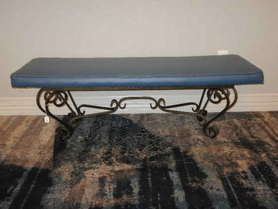 Traditional Spanish Scroll Design Antiqued Patina Gilded Metal Base Bench