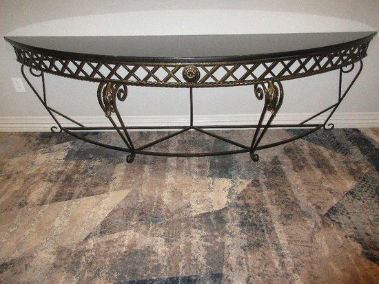 Classic French Inspired Style Demilune Console Table w/ Granite Top