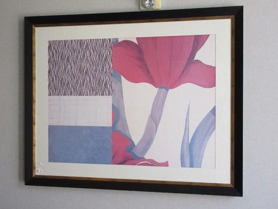 Collage w/ Red Tulips Artist Julie Johnson © 2003 Print in Black Frame w/ Gilded Trim/Matt