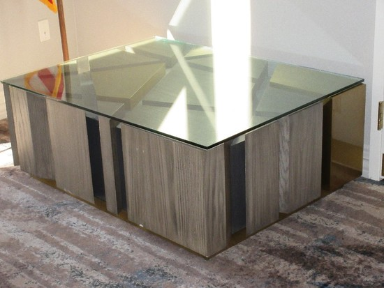 D'Style Simulated Wood Grain Cocktail Table Abstract Panel Raised Design