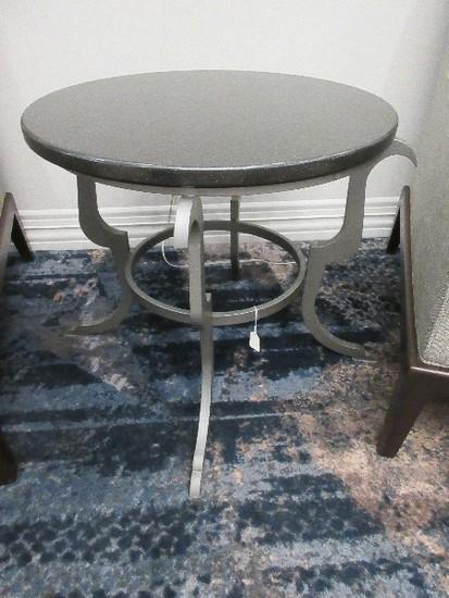 Transitional Modern Design Gray Metal Base End Table w/ Round Black Granite Top
