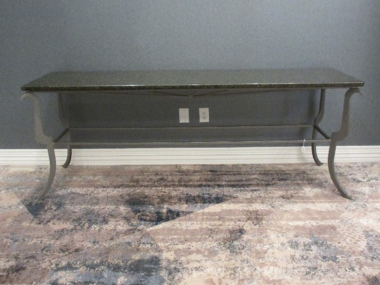 Transitional Modern Design Gray Metal Base Console Table w/ Granite Top