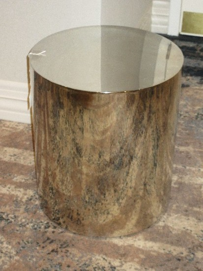 Interlude Home Aubrey Cylinder side Table Iconic Modern Collection Stainless Steel